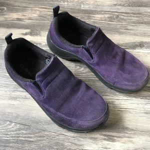 LL Bean Purple Slip On Suede Clogs Mules